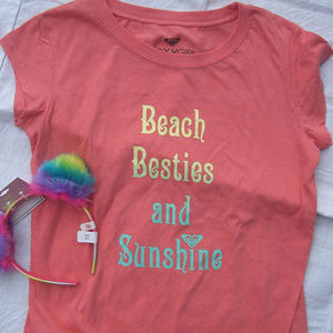 NWT ROXY Girl's T-Shirt Beach Besties SZ 10 & more